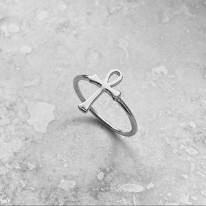 ✝️NEW✝️Sterling Silver Small Ankh Ring, Cross Ring
